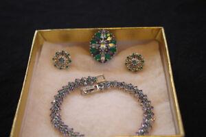 Natural Emerald & Gems ring/earrings/bracelet set