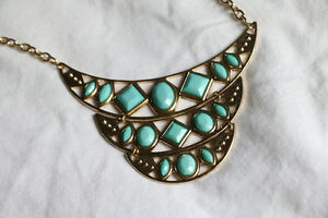 Gold Necklace with Blue Gemstones from Forever 21
