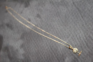 14 kt Gold Palm Tree Pendant with 10 kt gold chain