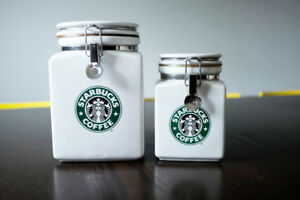 Vintage Starbuck's coffee canisters by Beehive in Japan.