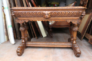 ANTIQUE 19TH C. FRENCH RENAISSANCE WRITING TABLE QUALITY