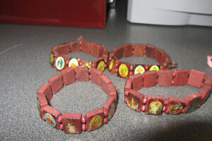 Wooden Bracelet with Religious Images