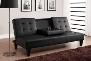 HIGH END FAUX LEATHER SOFA BED CLICK CLACK COMES WITH CUP-HOLDER