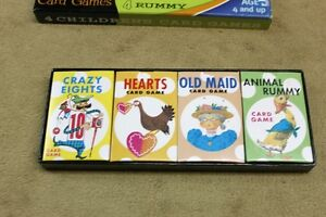 4 Children's Card Games Crazy 8's, Hearts, Old Maid & Rummy