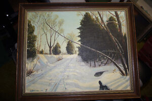 Nice Original Painting - Winter Scene by  J. Donabie