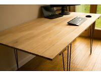 Hardwood (Iroko) studio desk / table, large, retro style