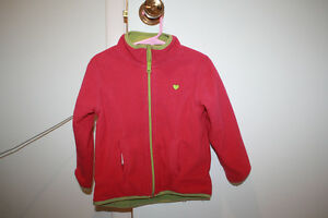 Joe Fresh pink/green fleece zip up jacket size 3 year