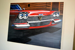 GRANDE TOILE 1958 PLYMOUTH BELVEDERE CHRISTINE - LARGE PAINTING