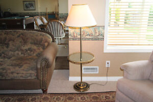 Brass Lamp with Glass Table