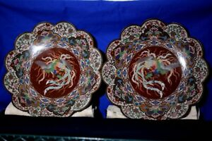 "Pr 19th C. 14 in"" Scalloped edge Phoenix Cloisonné Wall Plates"