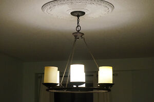 Chandelier - Round w/ Glass Pillars