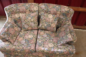 Fabric Loveseat with Floral Pattern