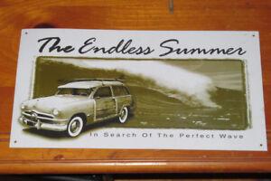 TIN METAL SIGN ENDLESS SUMMER 1949 1950 FORD WOODY - ENSEIGNE