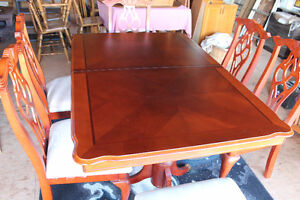 formal dining room table and six chairs