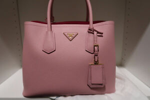 NWT-PRADA Saffiano-Cuir-Double-Small-Tote Bag,Pesco-Pink