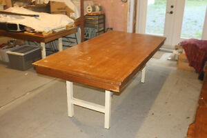 Large Wood Table With Metal Folding Legs