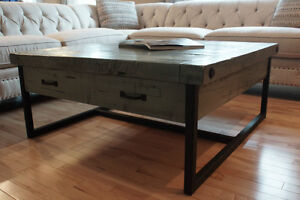 Reclaimed Wood & Iron Coffee Table by LIKEN Woodworks