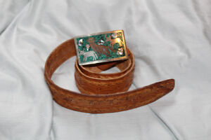 Handcrafted Mexico belt buckle and leather crafted belt size 36