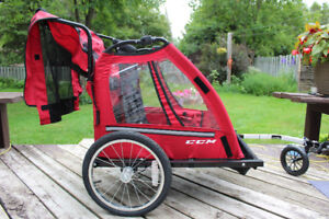 CCM Two Seat Bicycle Trailer With Stroller Attachment