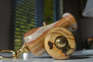 VINTAGE MARBLE & BRASS CANNON MADE IN ITALY