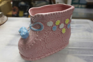 Ceramic Boot fro Baby's Room (floral arrangement,Q Tips, storage