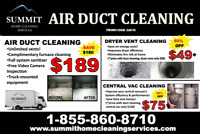 DUCT CLEANING UNLIMITED VENTS $189.99 INC FURNACE & SANITIZER