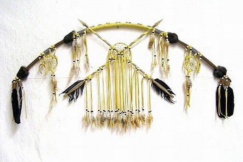 "Native American Tohono O'odham 48"" Dreamcatcher Leather Fringe Bow & Arrow Set"