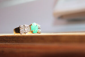 Natural Emerald and Diamond 10K Yellow Gold Ring