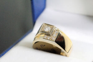 NEW 14K. 2 TONE & 0.20CARAT MAN'S RING WITH APPRAISAL FOR SALE