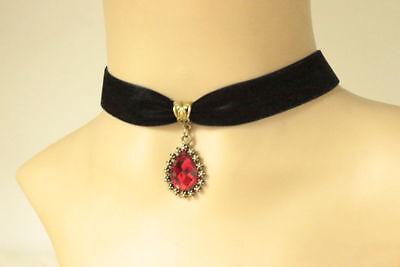 black velvet choker necklace Red Glass Cabochon Jewel Pendant goth Victorian UK