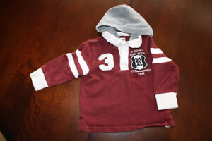 Children's Place Rugby Style Hooded Shirt- 2T