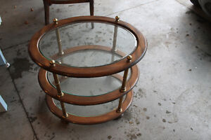 Retro end table with three tier glass shelves