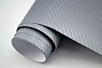 7,8€/m²  3D Carbon Folie silber blasenfrei 100 x 152cm Klebefolie Carbon Optik