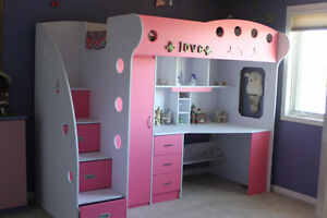 JYSK Nika Loft Bed – Pink and White – Mattress included