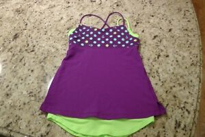 IVIVVA/LULULMEON PURPLE AND LIME GREEN SIZE 10 TANK TOP
