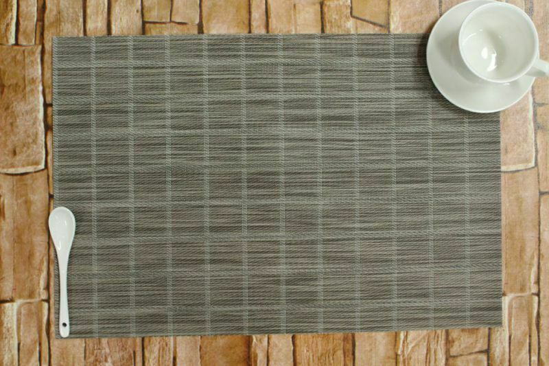 Placemats Set of 4 Heat-Resistant PVC WashableTable Mats Woven 18inx12in Gray