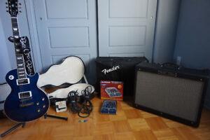"""Guitar Gipson """"Les Paul"""" et amplificateur Fender """"Deluxe"""" 180 w"""
