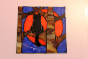 stained glass suncatcher cat on a tree