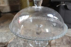 Glass cake pedestal stand/display with glass cover.
