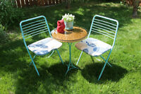 Robin Egg Patio Set Two Foldable Chairs