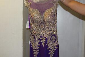 Purple fitted jewel embellished dress;formal event