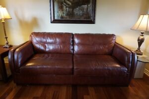 Fauteuil 3 places cuir brun Brown Leather Couch