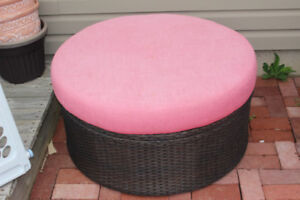 Patio Storage with Cushion  Seat - Wicker Material