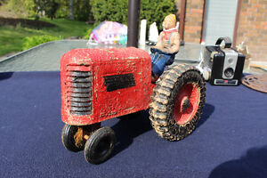 RARE ANTIQUE WOODEN COMPOSITION TRACTOR & DRIVER TOY