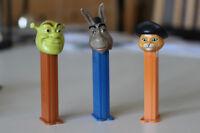 Shrek PEZ dispensers: Shrek, Donkey, Puss