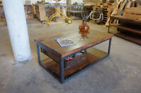 2 inch Slab and Steel Coffee table w/ Pull out Crate Shelf
