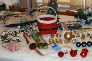 Various Christmas Decorations lights, basket, balls, flowers