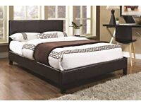 💛💛Best Price Offered💛💛Double Leather Bed Frame With Mattress -- Order Now - Black / Brown