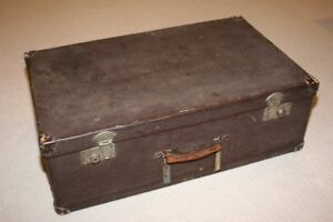 Very Old Wood + Metal Suitcase with Working Key for Locks