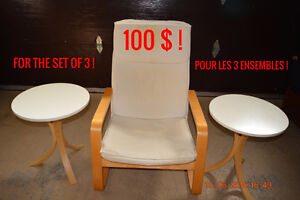 ARMCHAIR + 2 SMALL TABLES - LIQUIDATION SALE = 100 $